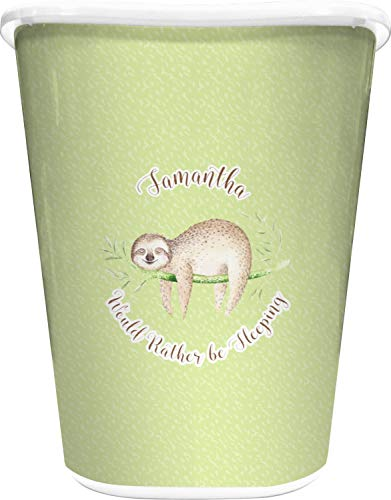 RNK Shops Sloth Waste Basket - Single Sided (White) (Personalized)
