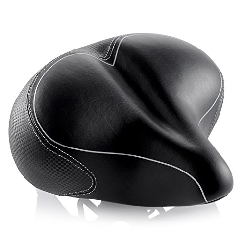 Oversized Comfort Bike Seat Most Comfortable Replacement Bicycle Saddle for Cycling | Universal Fit for Outdoor Exercise Bikes & Indoor Spin Bikes | Wide Soft Padded Bike Saddle For Women and Men by Asani