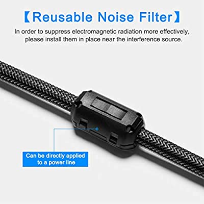 EMI RFI Noise Filter Cable Ring, Roctee 12 Pcs Ferrite Choke Snap On Noise Suppressor Cable Clip Electronic Ferrites Core for 7MM Diameter Wire (Black): Car Electronics