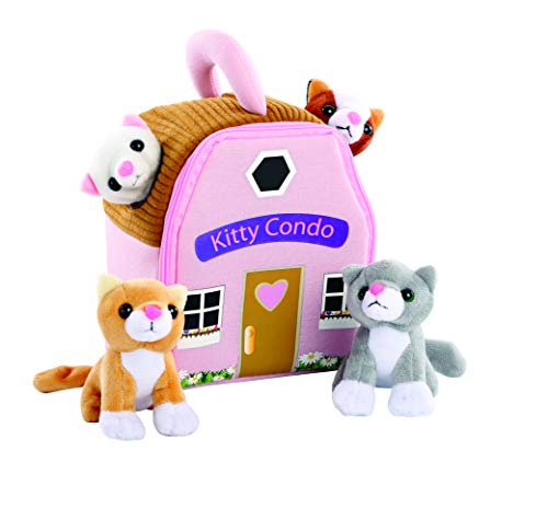 - Plush Kitty Cat Carrier with 4 Meowing Kittens | Plush Animal Toy Baby Gift | Toddler Gift (Kitty Condo)
