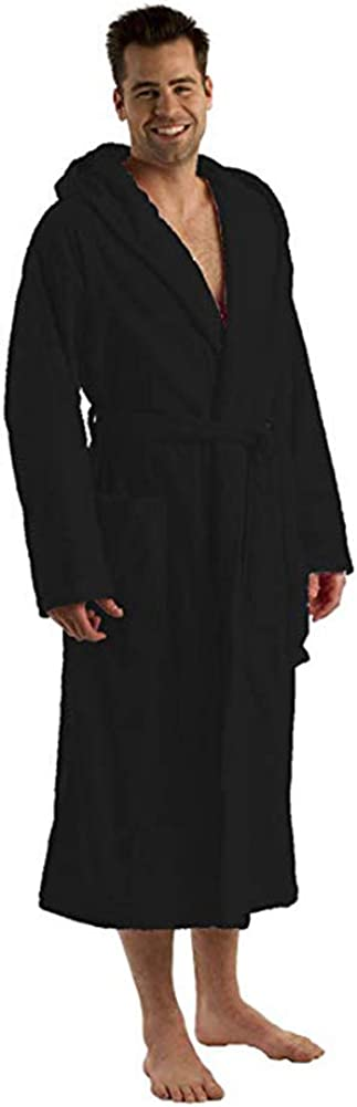 Hooded Bathrobe for Women and Men Cotton Velour Terry Adult Robe