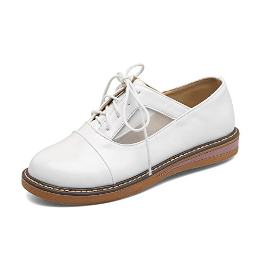 White up Lace Microfiber Low Toe Shoes Round Women's Pumps WeiPoot Heels v1qgc5Rwv