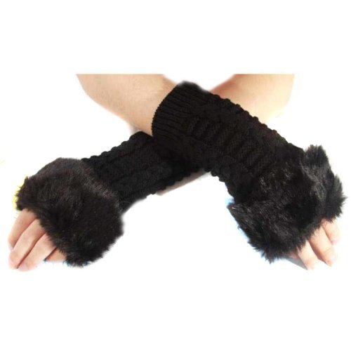 UZZO™Christmas Gift Women Winter Faux Fur Trim Hand Wrist Warmer Knitting Long Sleeve Arm Sleeve Warmer Fingerless Gloves Mitten with Thumb Slot Hole With 1Free UZZO Logo Keyring (Black)