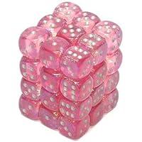 Chessex Borealis - Juego de Bloques de Hielo (12 mm, 6 Unidades), Color Rosa y Plateado
