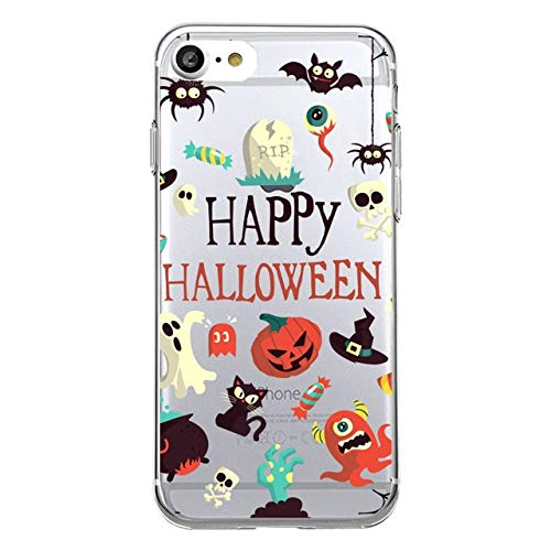 Clear Black Halloween iPhone 6 Case Jack O Lantern 6S Cover Pumpkin Spooky Pumpkins Happy Halloween Quotes Skull Candy Hat Cat Ghost Spider White Blue Yellow, TPU -