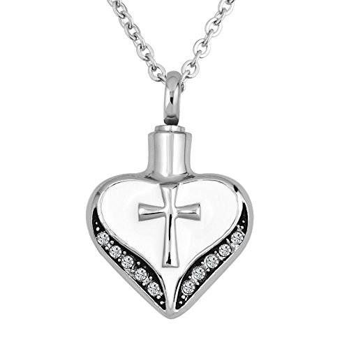 LovelyCharms Cross Urn Necklace For Ashes Stainless Steel Keepsake Memorial Cremation (Cross3) (Steel Keepsake Stainless)