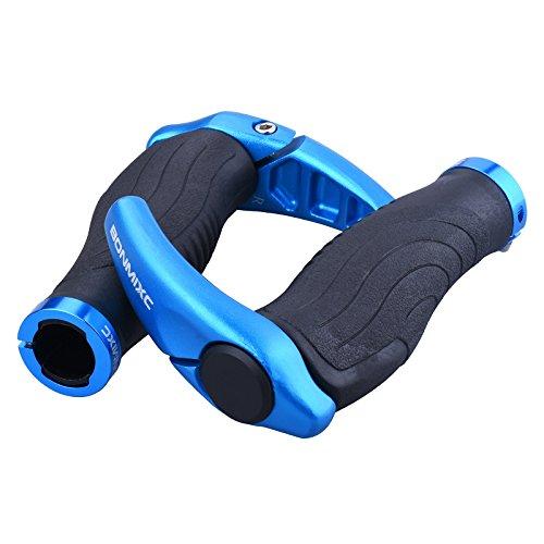 Ergonomic Bicycle Grips (Bonmixc Ergonomic Design Mountain Bike Grips, Aluminum Alloy Locking Ring Bicycle Grips For MTB BMX Folding Bike)