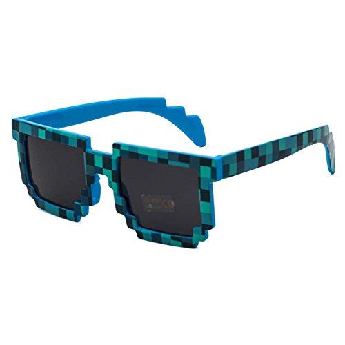 pixel Femme de Juleya Enfant Homme déguisements la Paquet soleil pour A Lunettes 3 Lunettes et soleil de lunettes soleil Bleu Lunettes de Idéal fête de Pixel de wfqOdOI