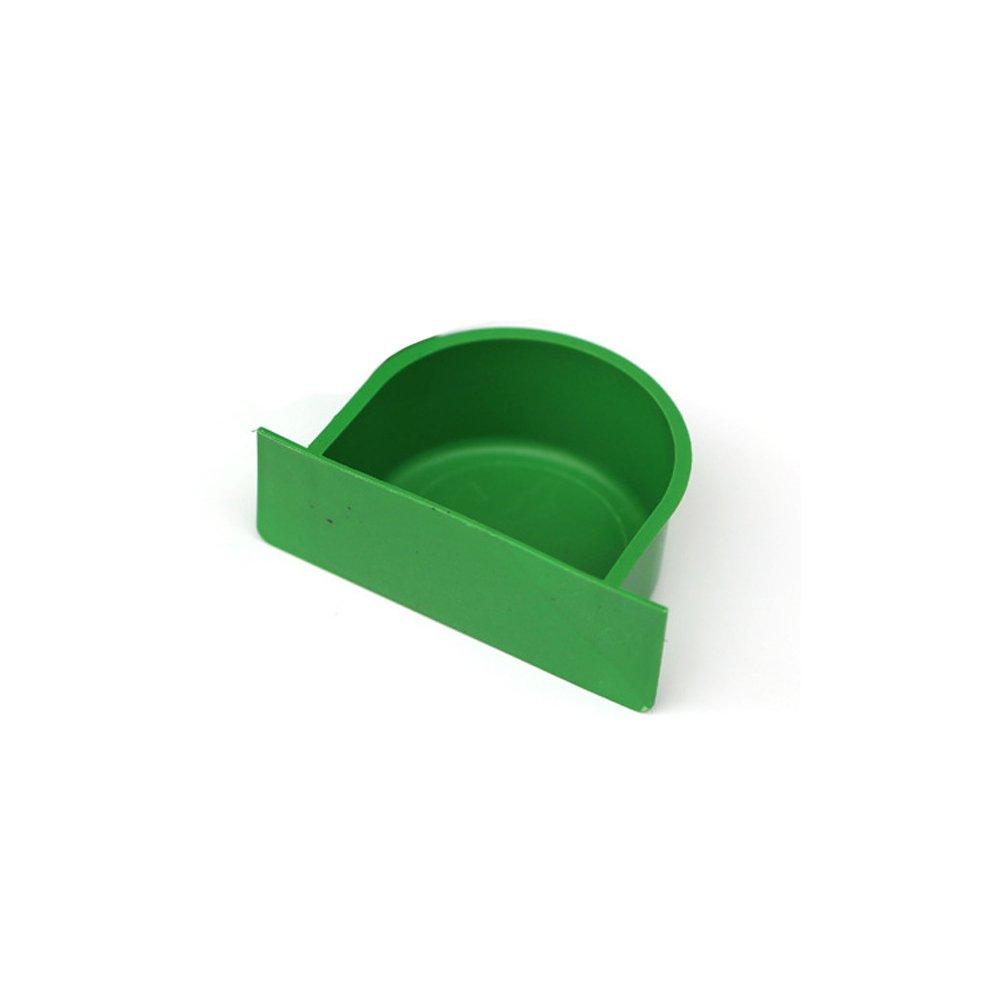 YOTHG Plastic Bird Feeding Trough Food Water Feeding Bowl Dish for Parrot Hamster Totoro Cage (Green)