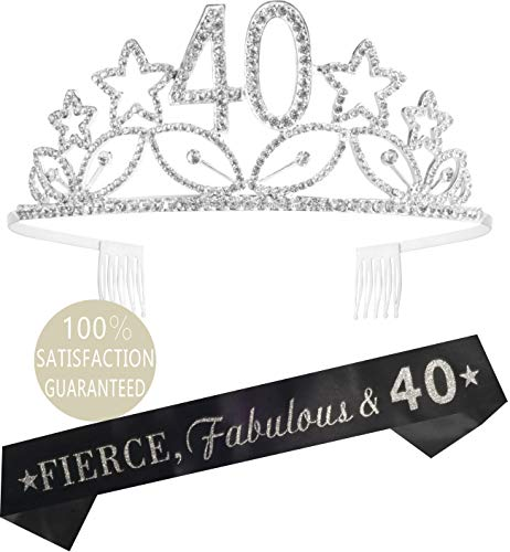 40th Birthday Tiara and Sash Silver, Happy 40th Birthday Party Supplies, 40 & Fabulous Black Glitter Satin Sash and Crystal Tiara Birthday Crown for 40th Birthday Party Supplies and Decorations
