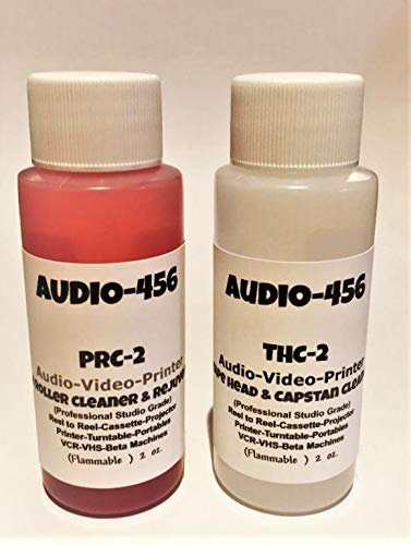 (Audio 456 THPR-2 (1) 2 oz Audio 456 Audio/Video Tape Head Capstan Cleaner Fluid & (1) 2 oz Audio 456 Audio Video Pinch Roller Cleaner Rejuvenator Fluid (formerly SR-Audio) Reel to Reel+Cassette+E)