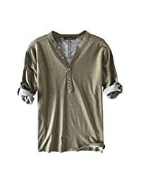 TOPUNDER Mens Casual Cotton Breathable Solid Half Sleeve Summer Buttons T Shirt Blouse