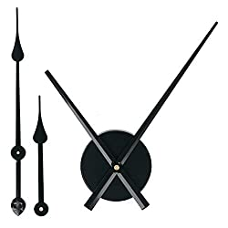 EMOON 2 Pair Hands 3D Clock Movement DIY Large Wall Clock Quartz Clock Mechanism for Home Art Decor (Black)