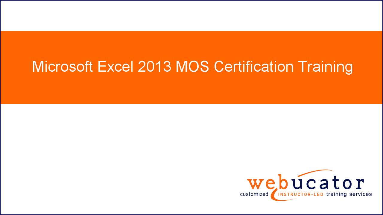 Amazon Microsoft Excel 2013 Mos Certification Training Online