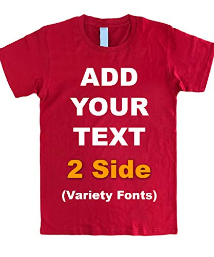 Custom T Shirts Front & Back Add Your Text Message Ultra Soft Unisex Cotton T Shirt [Red/XL]