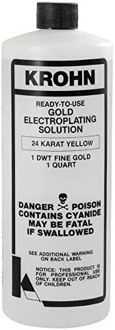 Krohn Electroplating 24K Yellow Gold Plating Solutions 1 Quart 1 DWT Penny Weight