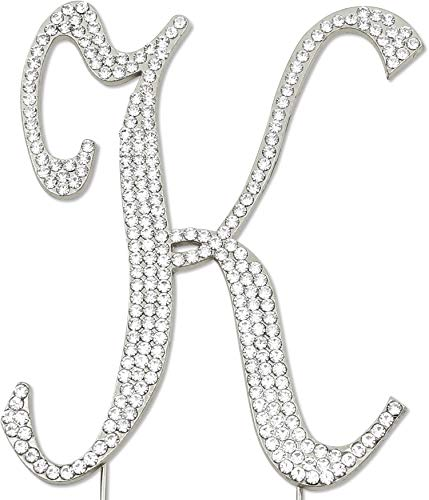 Sparkly Rhinestones Letter K Cake Topper, Birthday Wedding Anniversary Silver Initial K (Cake Initials Toppers Wedding)