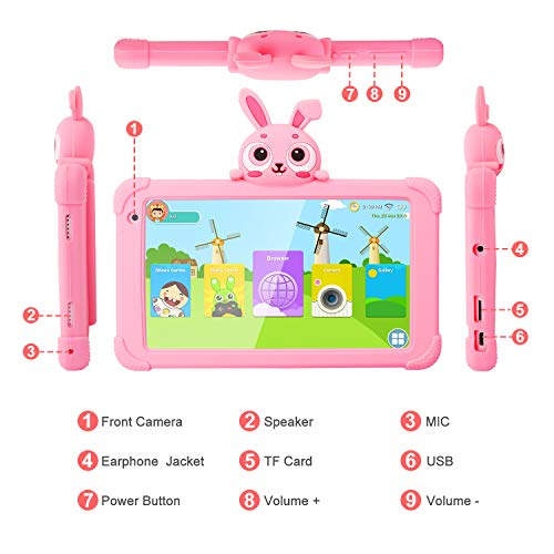 Tablet for Kids 7inch Kids Tablet for Toddler Tablets with Case Tablets for Kids Premium Kids Tablets 1GB 16GB IPS Safety Eye Protection Screen Parental Controls YouTube Google Tablet Kid Pink