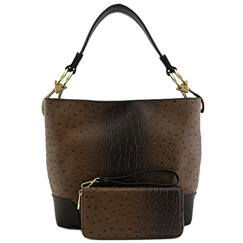 Big Hook Ostrich Wallet Coffee Snap Set and PC 2 Hobo Bag Shoulder with 0TZOwq