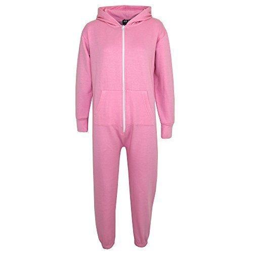 Kids Girls Boys Plain Color Fleece Hooded Onesie All in One Jumpsuit 5-13 Years Baby Pink ()