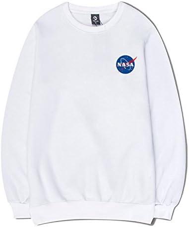 CORIRESHA - Sudadera con capucha y bolsillo canguro con estampado de logotipo de la NASA large 1_blanco