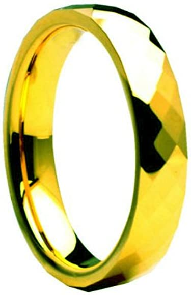 Tungsten Carbide Faceted Yellow Gold Plated 4mm Wedding Band Ring 7.5 Size