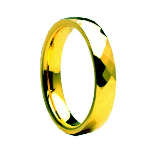 Tungsten Carbide Faceted Yellow Gold Plated 4mm Wedding Band Ring 11.5 Size