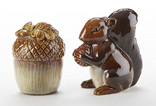 Squrriel & Acorn Nut 3.5 Inch Glazed Ceramic Salt and Pepper Shakers 2 Piece Set -