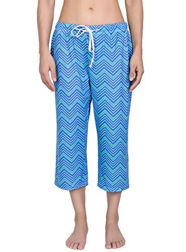 (YIJIU Women's Pajama Lounge Capri Pants Print Comfy Casual Sleepwear Loose PJ Bottoms)
