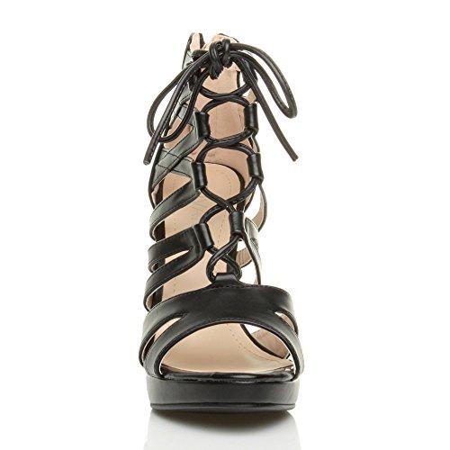 scarpe sandali Donna cerniera stringhe numero lampo Nero alto aperte tacco a punta Opaco 8qq4Zrnz