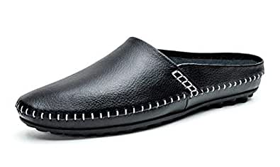 YiCeirnier Men's Slippers House/Office Slip On Sandals Leather Casual Loafers Backless Black Size: 6.5