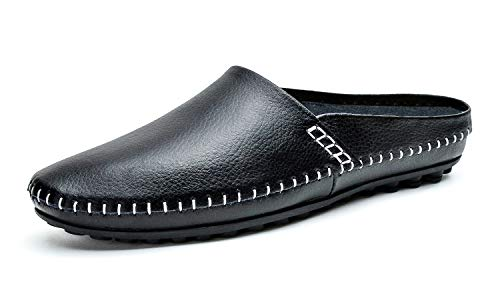 YiCeirnier Mens Leather Slippers Slip On Walking Shoes Black Loafers 8805/Hei-US6.5-38