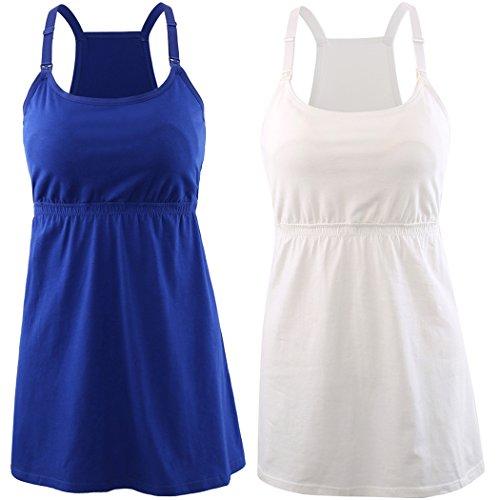 KUCI Maternity Nursing Top Tank Cami, Women Mateniry Nursing Sleep Bra Breastfeeding Tops for Pregnancy (M, Blue+White/2Pack) ()