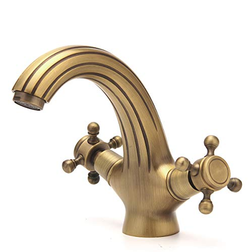 Antique Brass Bathroom Sink Faucet Double Knobs Cross Basin Single Hole Bar Faucet Mixer Tap Deck Mounted Vintage Modern Designer Commercial Top