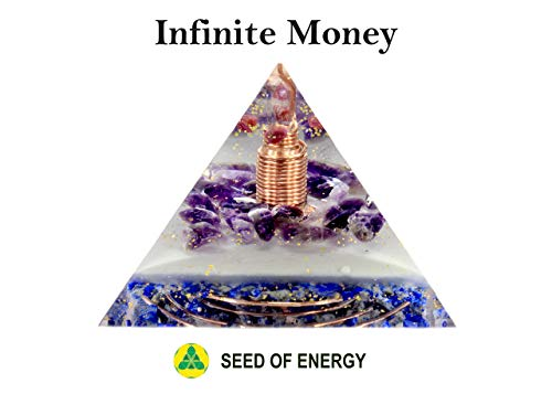 (Handmade ORGONITE Infinite Money Pyramid Orgone Energy Generator for Abundance, Prosperity and Wealth, with Gemstone Diamond, Crystal Quartz, Amethyst, Lapis Lazuli, Ruby)