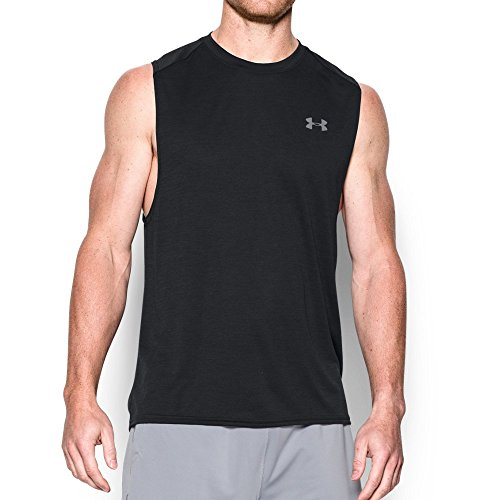 Under Armour Men's Tech Muscle Tank, Black/Steel, XX-Large