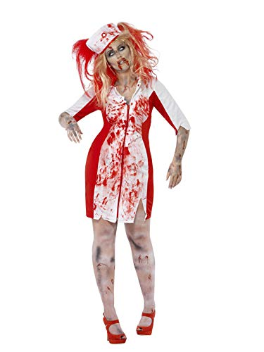 Smiffys Women's Curves Zombie Nurse Costume, Dress and Headpiece, Zombie Alley, Halloween, Plus Size 26-28, 44340