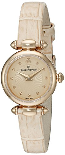 Claude Bernard Women's 'Mini Collection' Quartz Stainless Steel and Leather Dress Watch, Color:Beige (Model: 20209 37R BEIR)