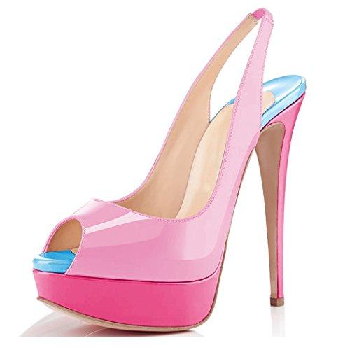 Pumps Court Pink Platform Slingback Paltform Strap Sandals Dress Womens Shoes Toe Ubeauty Ankle Peep High Heel aHq8ZnRwE
