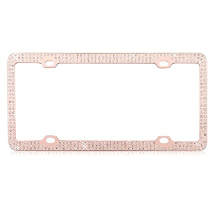 mybat rose gold diamond license plate frame for