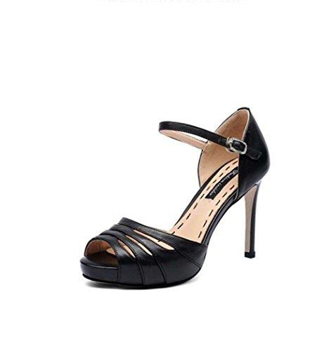 Sandalias de Punta Abierta para Mujer de Color Sólido con Punta en Punta Zapatos de Tacón Alto Negro/Blanco Talla 34-39 Negro