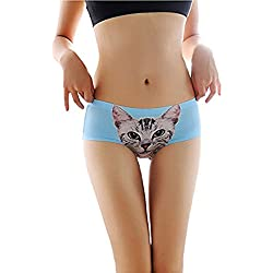 ohyeah Women's Seamless Panties Cat Short Pants Comfortable Underwear (XXL=US 10, Blue)