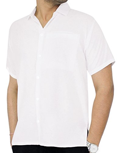 Tropical Floral Camp Shirt - La Leela Rayon Loose Camp Party Men's Shirt White 85 Medium | Chest 40