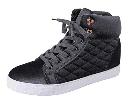 Cambridge Selezionare Da Donna A Punta Tonda Lace-up Trapuntato Moda Sneaker Grigio