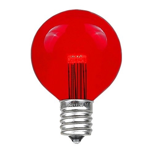 (Novelty Lights 5 Pack LED G50 Outdoor Patio Globe Replacement Bulbs, Red, E17/C9 Base, 1 Watt)