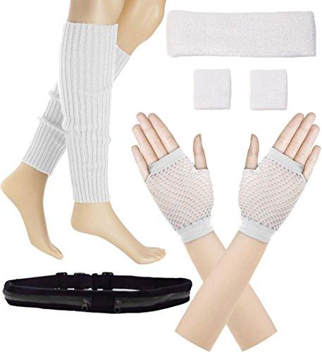 Women 80s Set Neon Knit Headband Wristbands Leg Warmers (White) ()
