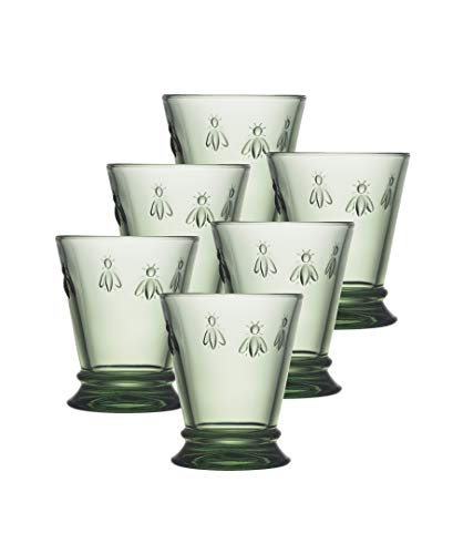 La Rochere 6121.14_473 Set of 6, Napoleon Bee Verdigris 9 oz. Tumbler, 10 oz, Green (Tinted Glassware)