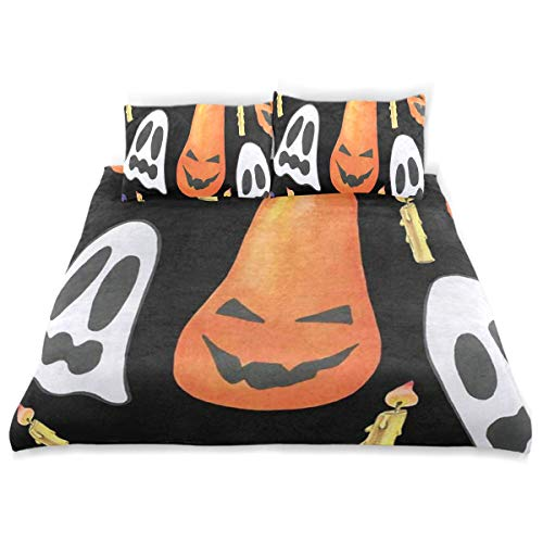 OSBLI Bedding Duvet Cover Set 3 Pieces Painting Halloween Ghost Pumpkin Bed Sheets Sets and 2 Pillowcase for Teens -