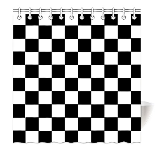 Board Checkers Squares (Shower Curtain Black White Classic Lattice Square Checkerboard Waterproof Polyester Bath Curtain 48