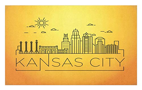 Ambesonne Kansas City Doormat, Minimal Kansas Missouri Linear City Skyline with Typographic Design, Decorative Polyester Floor Mat with Non-Skid Backing, 30